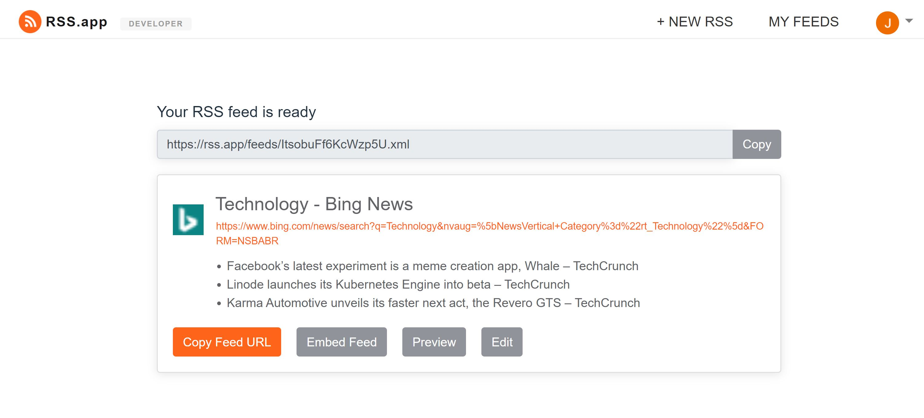 Bing Feed Generator