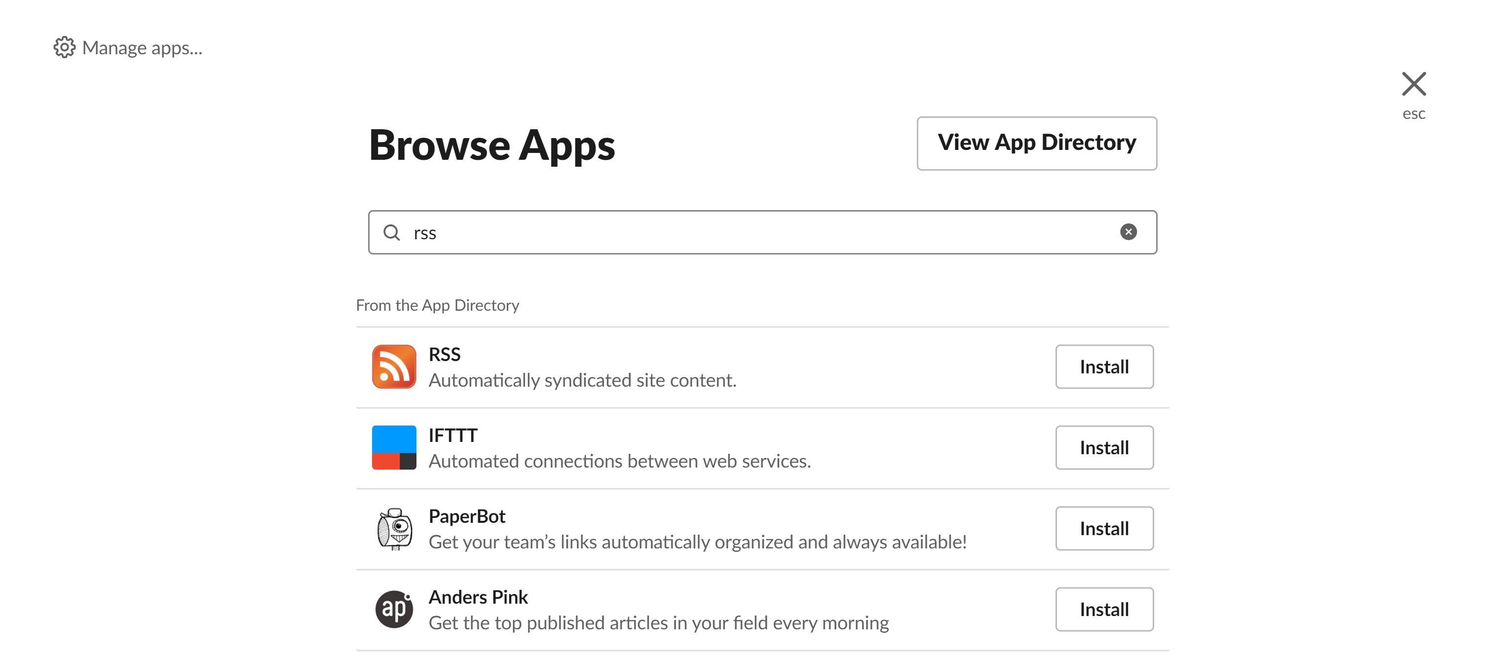 Slack Browse Apps